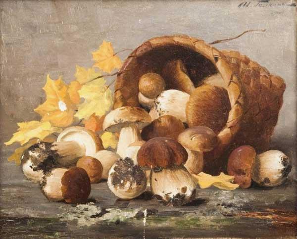 художник Галкин. Натюрморт с белыми грибами