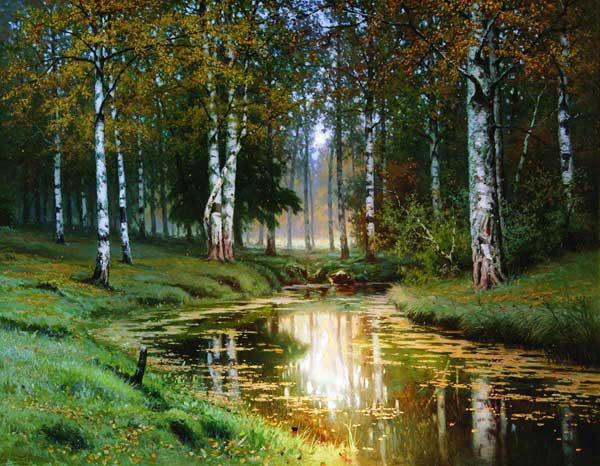 Волков. Золотая осень. Тихая речка (Лесной пейзаж с рекой)