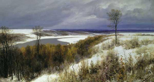 художник Поленов. Ранний снег