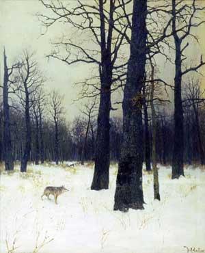 художник Левитан. Зимой в лесу