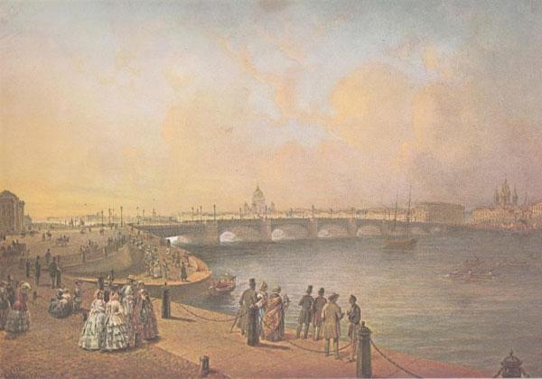 Василий Садовников. Вид Благовещенского моста с набережной Васильевского острова. 1851