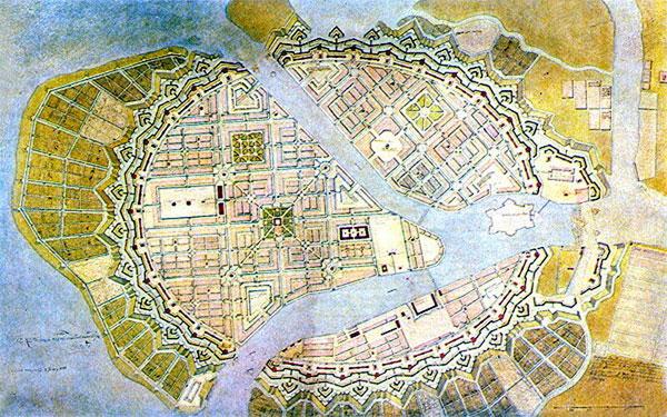 Генеральный план Санкт-Петербурга. Жаном Леблон. 1717 г.