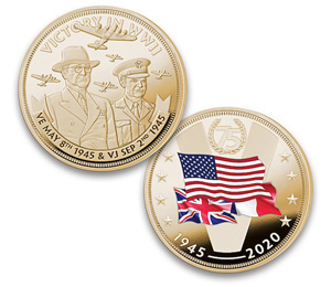 Монета к 75-летию окончания Второй мировой войны, выпущенная американской компанией Bradford Exchange